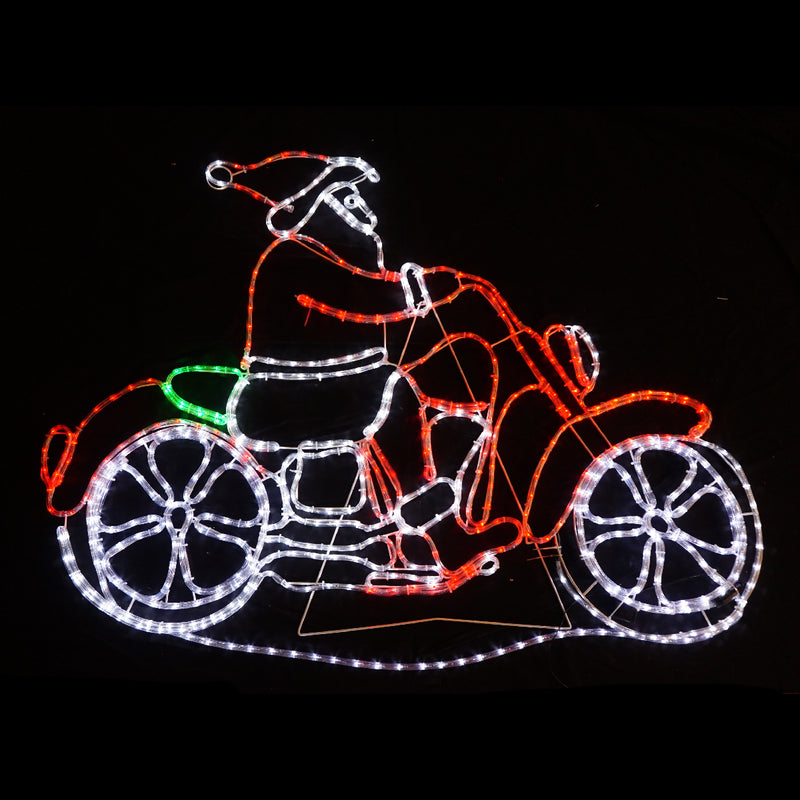 Christmas LED Motif Santa Riding Harley Motorcycle 150x107cm Indoor Outdoor Display