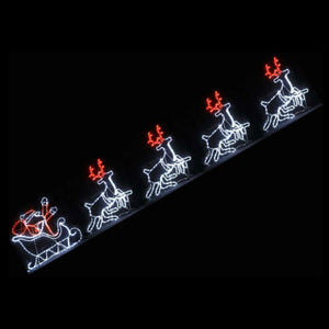 Christmas LED Motif Santa Riding Reindeers in Sleigh White Edition 560x80cm Indoor Outdoor Display Sign