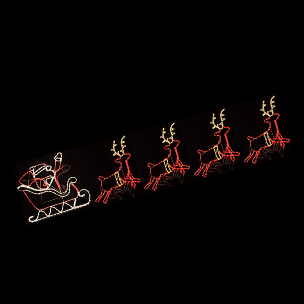 Christmas LED Motif Santa Riding Reindeers in Sleigh 560x80cm Indoor Outdoor Display Sign