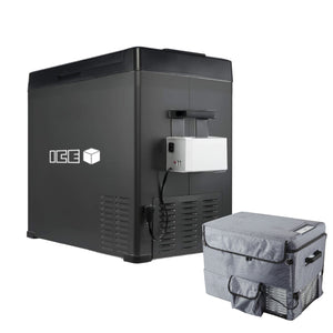 ICE 50L Portable Compressor 2 Way Fridge Freezer Bundle Kit 15.6Ah Battery & Cover