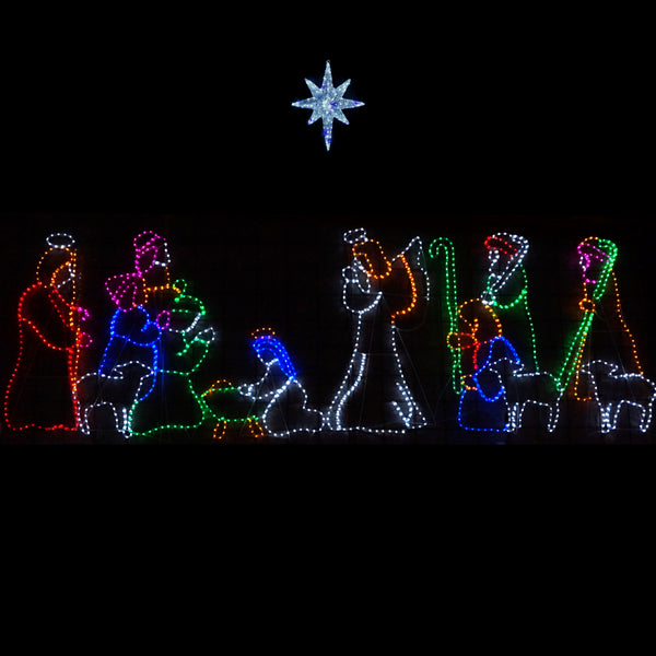 Christmas LED Motif Twinkling Blue White LED Nativity Northern Star 74x59cm Outdoor Motif Sign