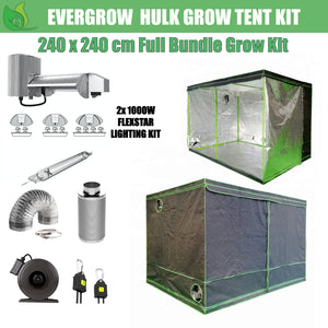 EverGrow Hulk Series 2.4x2.4m Dual Flexstar 1000W HPS/MH Hydroponic Grow Tent Full Bundle Kit