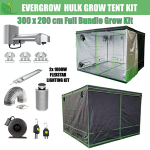 EverGrow Hulk Series 3x2m Dual Flexstar 1000W HPS/MH Hydroponic Grow Tent Full Bundle Kit