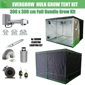 EverGrow Hulk Series 3x3m Quad Flexstar 1000W HPS/MH Hydroponic Grow Tent Full Bundle Kit