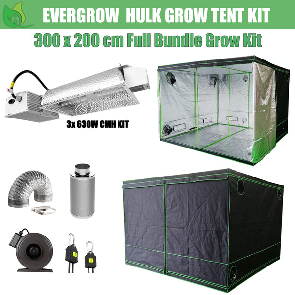 EverGrow Hulk Series 3x2m Triple CMH 630W Hydroponic Grow Tent Full Bundle Kit