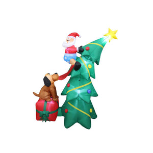 Inflatable 180cm Tall Christmas Tree Doggy Pulling Santa Pants LED Lit