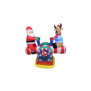 Inflatable 120cm Santa and Reindeer Playing Seesaw Motorised LED Lit