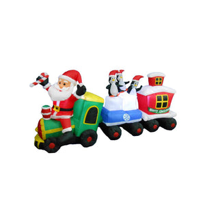 Inflatable 210cm Long Santa Riding Christmas Train LED Lit
