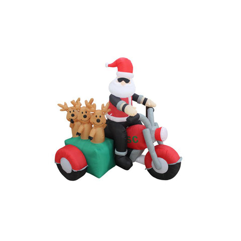 Inflatable 150cm Cool Santa Riding Trikes with Reindeers LED Lit