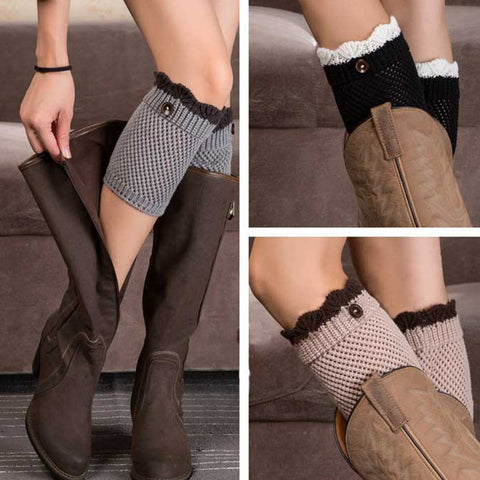 Fall Knitted Boot Cuffs with Trim