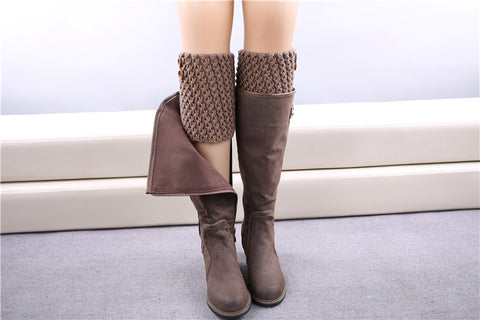 Cute as Two Buttons Knitted Boot Cuff