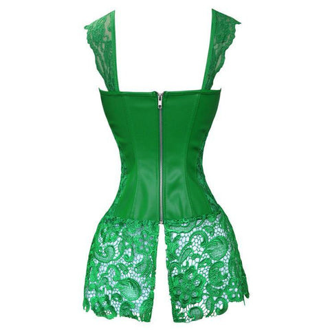 Atomic Green Faux Leather Corset with Lace Skirt