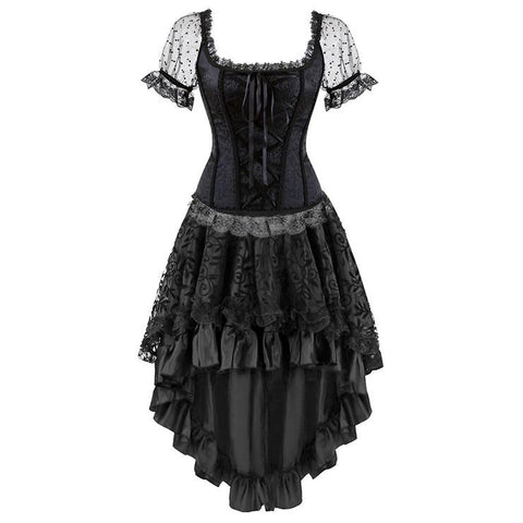 Brocade Lace Up Sleeveed Corset Top & Skirt Set