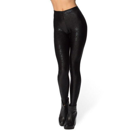 BLACK Fish Scale Pattern Low Waist Leggings