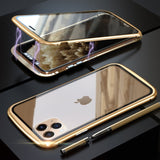 Armor Metal Frame Magnetic Case For iPhone 11 Pro Max Case Double Tempered Glass Full Cover for iPhone 11 Pro Max 2019 Funda