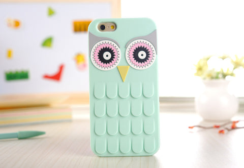 Light Green 3D Cute Cartoon OWL Soft Silicone Rubber Phone Case Cover For iPhone