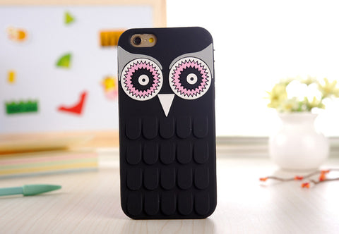 ee5510161d Black Colored3D Cute Cartoon OWL Soft Silicone Rubber Phone Case Cover For  iPhone
