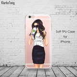 Beautiful Girl drink coffee Design Transparent TPU Case Cover For iPhone