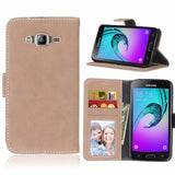 Matte Flip Leather Wallet Cover Case For Coque Samsung Galaxy J3