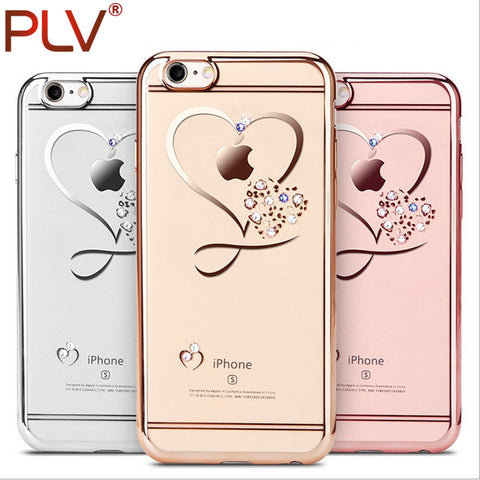Crystal Phone Cases Rose Plating Glitter Diamond Cover For iPhone 6s 6 Plus 7 Plus