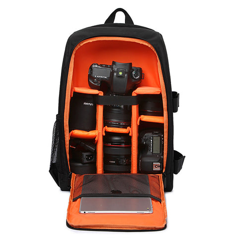 Waterproof digital DSLR padded backpack & rain cover camera soft bag video case for photographer
