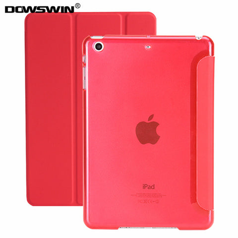 smart wake up / sleep leather matte transparent back cover for iPad 9.7