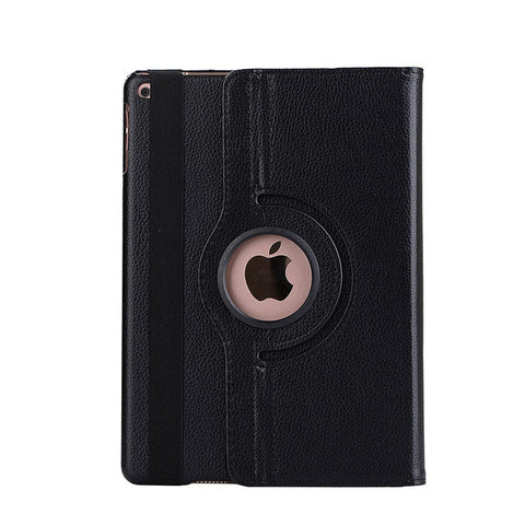 Black Colored 360 Degree Leather Stand Shell Case For Apple iPad 9.7