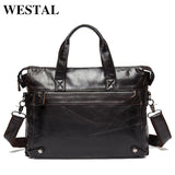 Genuine Leather Business Briefcase Laptop Bag