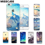 Transparent snow mountain protection cover cases for iPhone 5/5S/SE/6/6S Plus