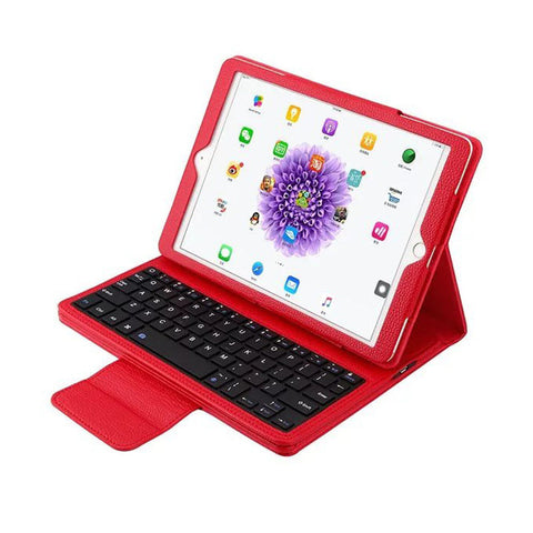 iPad 2017 case stand PU back cover removable wireless Bluetooth keyboard case
