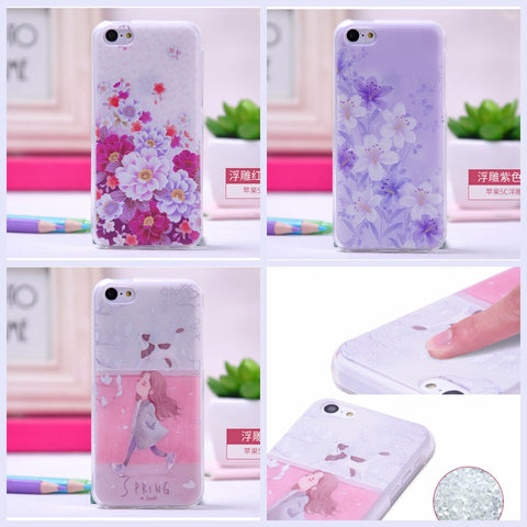 3D Flower Soft Silicone Phone Cases for case for iPhone 5 & 5s