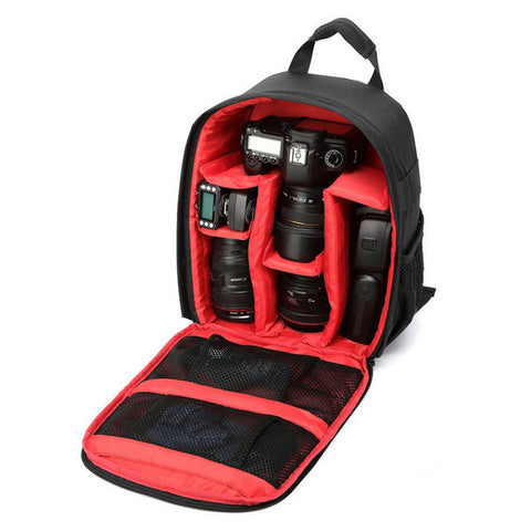 Red Colored Camera Backpack Durable Waterproof Camera Bag 600D Nylon Material