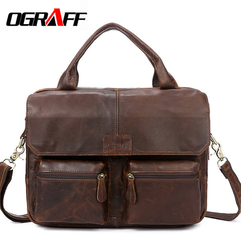 Genuine Leather Men's Briefcase Design Handbag Case