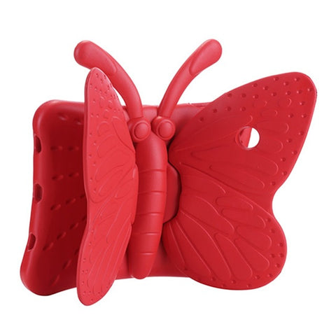 Red Colored BUTTERFLY DESIGN SILICONE COVER CASE WITH STAND FOR iPad AIR, iPad AIR 2, iPad PRO 9.7