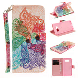 COLORFUL PAINTED FLIP LEATHER WALLET DESIGN PHONE COVER CASE FOR SAMSUNG GALAXY S8