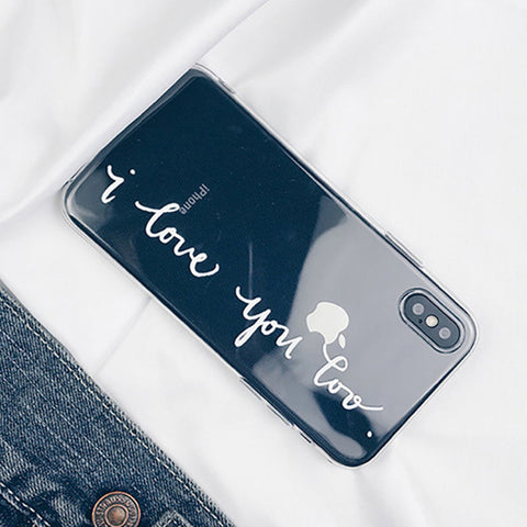 I Love You Letter Print Cover Case for iPhone X/ 8/ 8 Plus/ 7/ 7 Plus/ 6/ 6 Plus