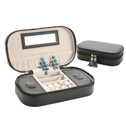 Portable Tasseled Leather Jewelry Organizer Case