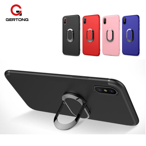 Metal Magnetic Ring Finger Support Matte Cover Case for iPhone X/ 8/ 8 Plus/ 7/ 7 Plus/ 6/ 6s Plus