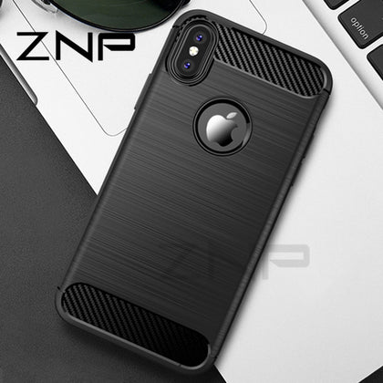 Carbon Fiber Soft TPU Anti-knock Cover Case for iPhone X/ 8/ 8 Plus/ 7/ 7 Plus/ 6/ 6s Plus