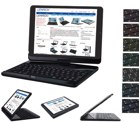 "7 Colors Backlit Light Wireless Bluetooth Keyboard Cover Case for iPad 9.7"" inch/ iPad Air"