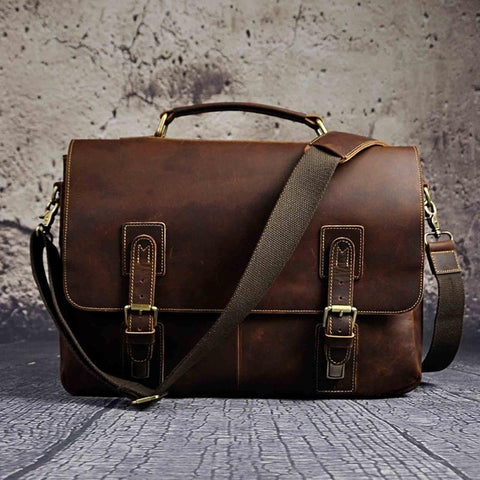 "LEATHER MESSENGER/ SHOULDER BAG CASE FOR 14"" INCHES LAPTOP FOR MEN"