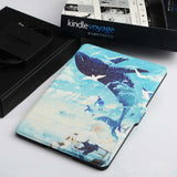 "Silk Painted Leather with Stand Flip Cover Case for Amazon Kindle Voyage 6"" inch (Film + Stylus Pen)"
