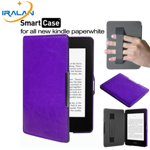 PU Leather with Hand holder Smart Cover Case for Amazon Kindle Paperwhite 1/ 2/ 3/ 6 (Screen Protector Film + Stylus Pen)