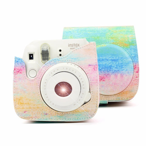 Rainbow Color PU Leather Shoulder Strap Camera Case for Fujifilm Instax Mini 8/ Mini 8+/ Mini 9