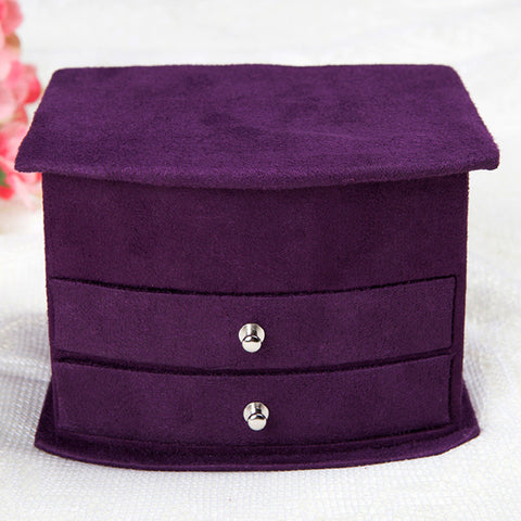 3 Layered Velvet Jewelry Organizer Case