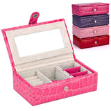 Medium-sized Shiny PU Leather Jewelry Organizer Case