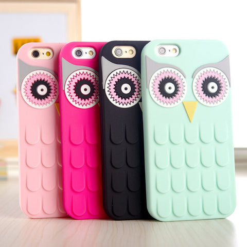 3D Cute Cartoon OWL Soft Silicone Rubber Phone Case Cover For iPhone