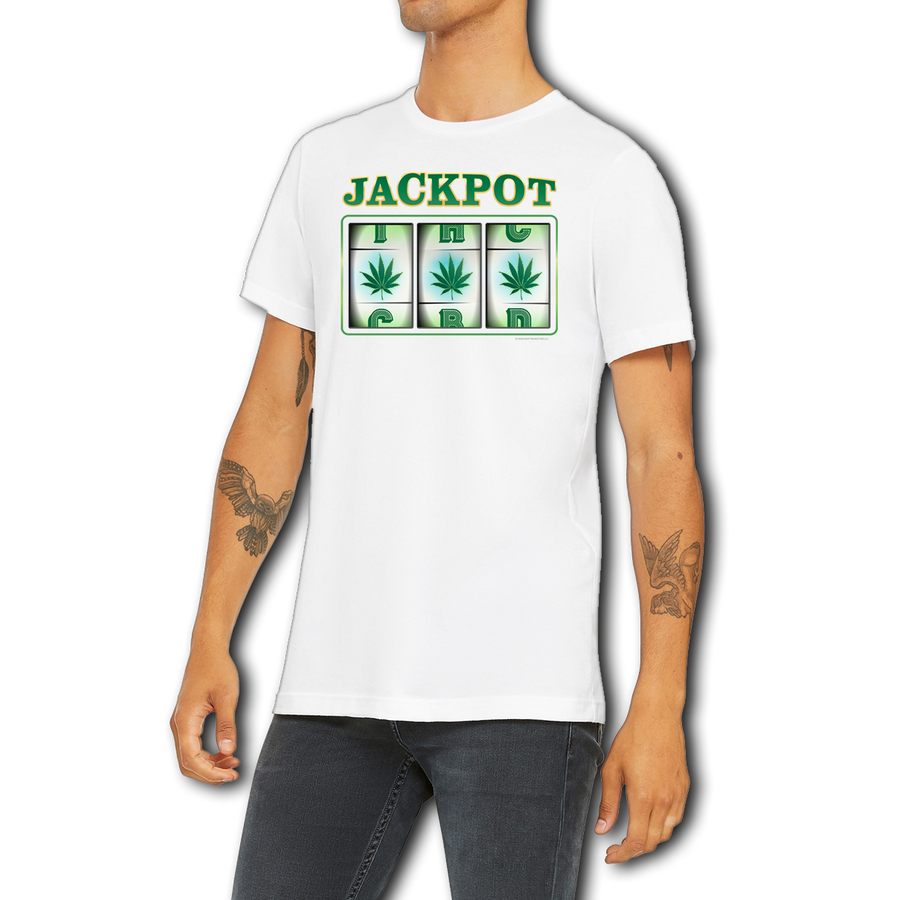 Weed apparel boutique funny t-shirt. Slot machine that shows 3 pot leaves winning along with CBD and THC on upper and lower line.