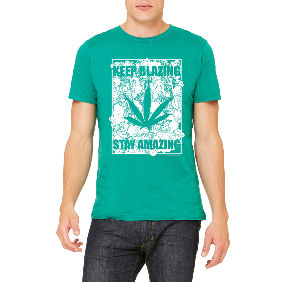Weed apparel boutique funny t-shirt. Great advice Keep Blazing Stay Amazing.  A  great 420 / 710 cannabis design.