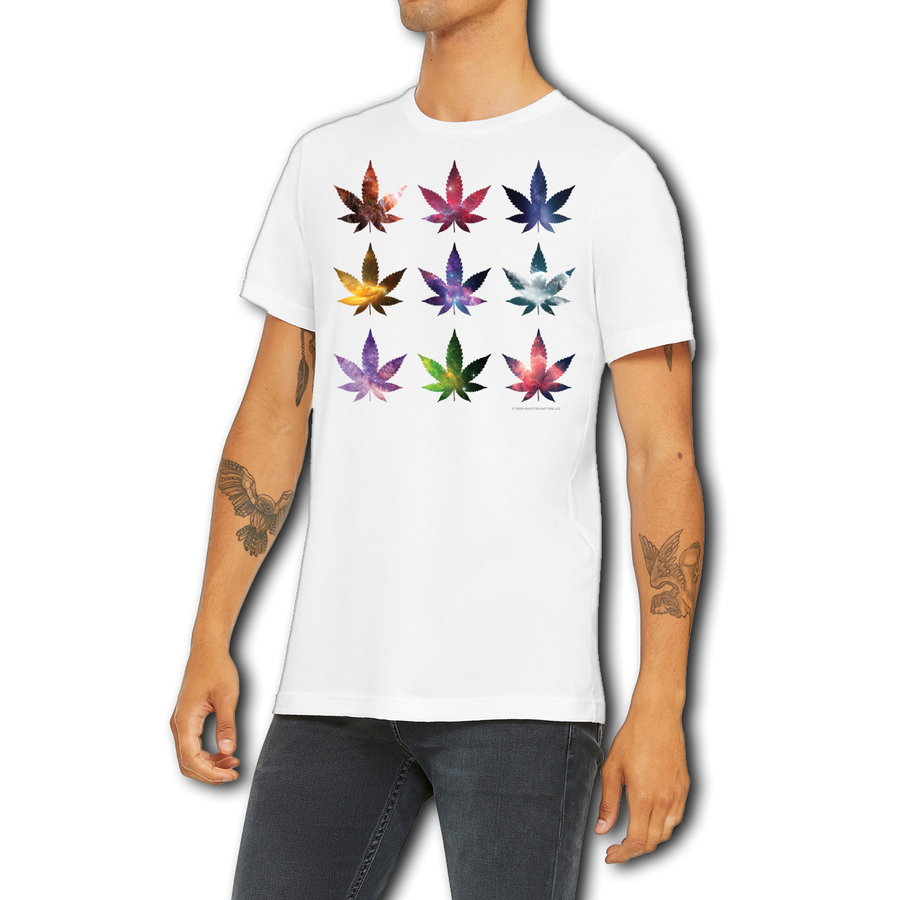 Men's / Unisex White Graphic Tee Funny Boutique T Shirt by Weed Apparel. Show off the night sky with pot leafs covered in stars. Cosmos on each leaf, just a peek of the galaxy.